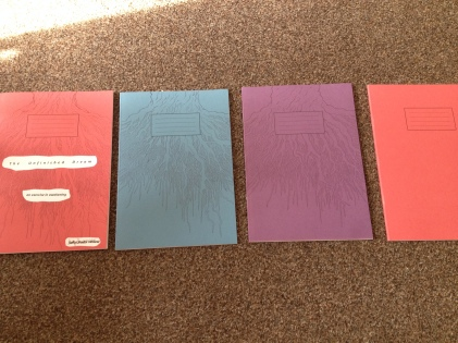 A4 school exercise books, hand-illustrated, cut and pasted